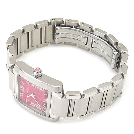 Cartier(까르띠에) W51030Q3 라즈베리 다이얼 10주년 기념 한정판 탱크 S 스틸 여성용 시계