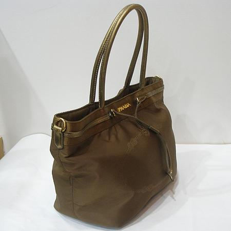 Prada(프라다) BN1755 금장 로고 장식 밀라노 패브릭 레더 스티치 쇼퍼 숄더백 [일산매장]