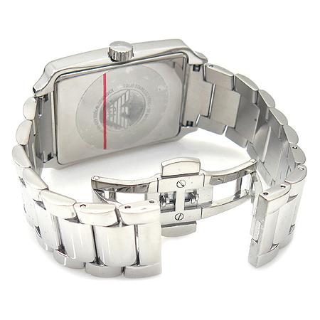 Armani(아르마니) AR0418 사각 화이트 스틸 밴드 남성용 시계