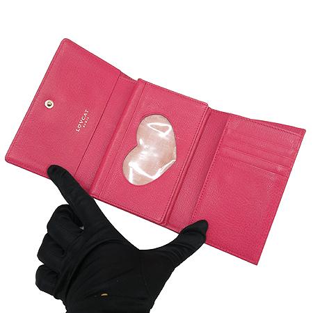 LOVCAT(러브캣) 금장 PVC 핑크 래더 트리밍 3단 반지갑