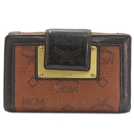 MCM(엠씨엠) 1832085021122 로고 플레이트 장식 브라운 래더 3단 반지갑