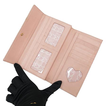 LOVCAT(러브캣) 금장 로고 핑크 크로커다일 패턴 장지갑