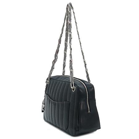 Chanel(샤넬) 은장 COCO 로고 장식 블랙 래더 스퀘어 체인 숄더백+파우치백