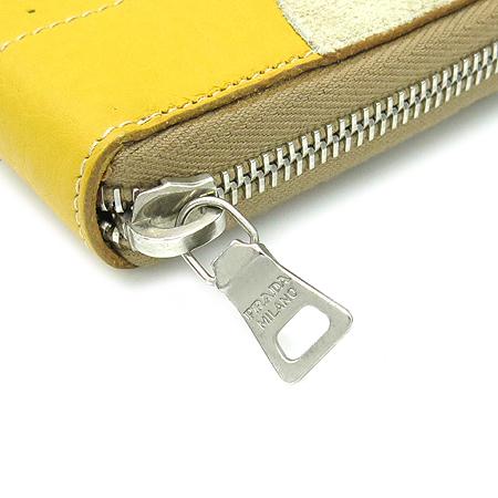 Prada(프라다) 3M0506 옐로우 퍼포 레더 스웨이드 트리밍 짚업 장지갑