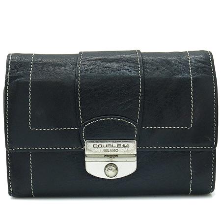 DOUBLE M(더블엠) 은장 버클 장식 블랙 래더 스티치 반지갑