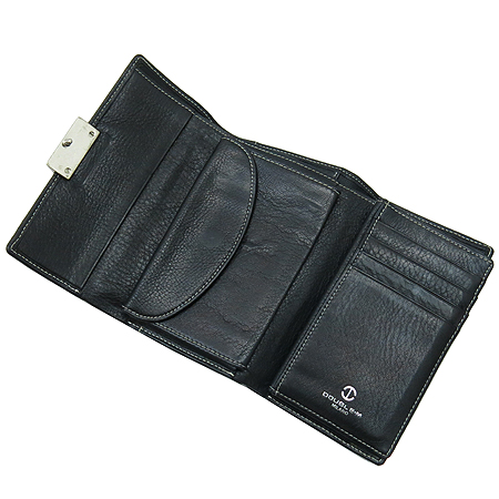 DOUBLE M(더블엠) 은장 버클 장식 블랙 래더 스티치 반지갑 이미지3 - 고이비토 중고명품