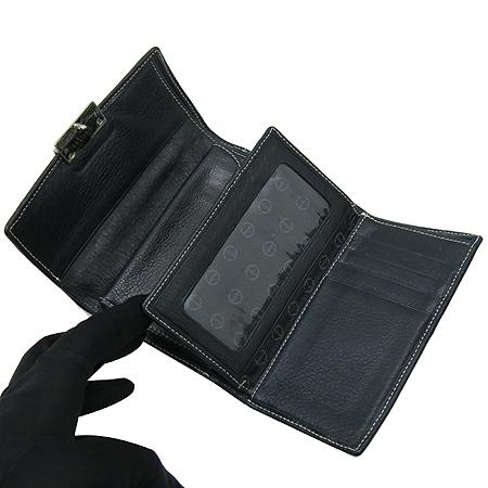 DOUBLE M(더블엠) 은장 버클 장식 블랙 래더 스티치 반지갑 이미지4 - 고이비토 중고명품