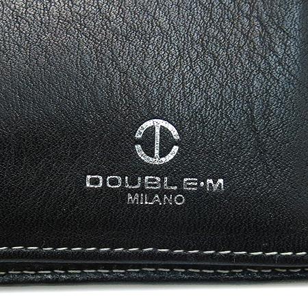 DOUBLE M(더블엠) 은장 버클 장식 블랙 래더 스티치 반지갑 이미지5 - 고이비토 중고명품