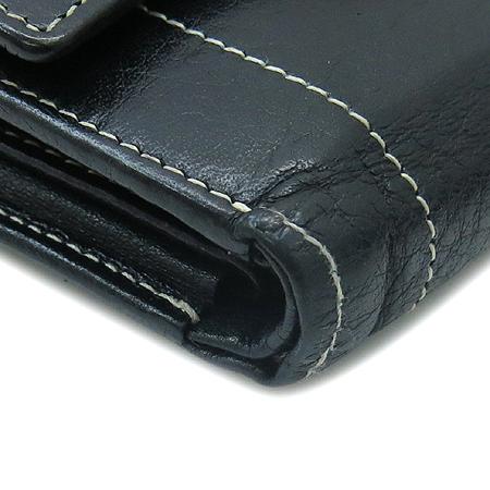 DOUBLE M(더블엠) 은장 버클 장식 블랙 래더 스티치 반지갑 이미지6 - 고이비토 중고명품