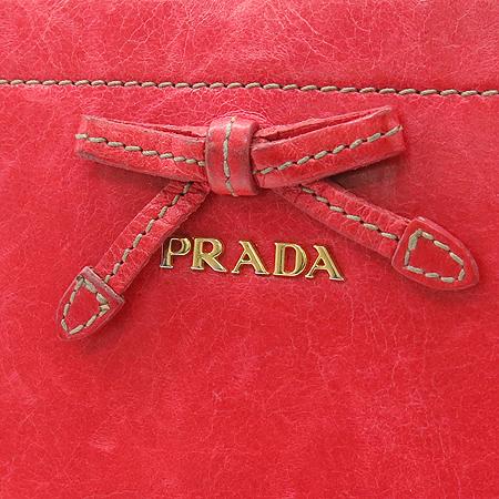 Prada(프라다) 1M0506 리본 장식 빈티지 짚업 장지갑