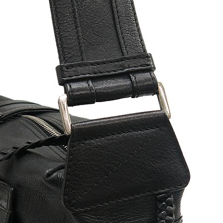 Dior(크리스챤디올) 은장 D로고 장식 블랙 레더 숄더백