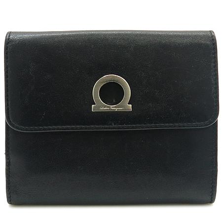 Ferragamo(페라가모) 22 3106 블랙 래더 간치니 장식 반지갑