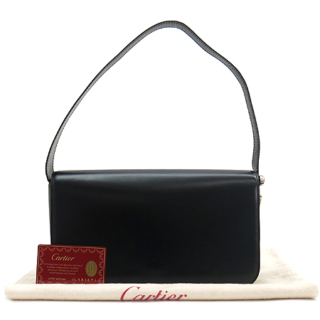 Cartier(까르띠에) 은장 팬더라인 블랙 스퀘어 숄더백