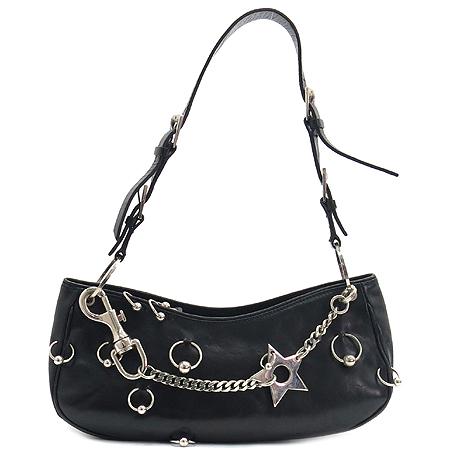 Dior(크리스챤디올) RU0024 블랙 래더 은장 스타 체인 피어싱 장식 숄더백