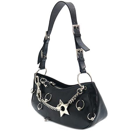 Dior(크리스챤디올) RU0024 블랙 래더 은장 스타 체인 피어싱 장식 숄더백 이미지2 - 고이비토 중고명품