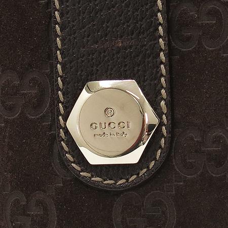 Gucci(구찌) 153361 GG로고 시마 스웨이드 다크브라운래더 혼방 미니바겟 토트백