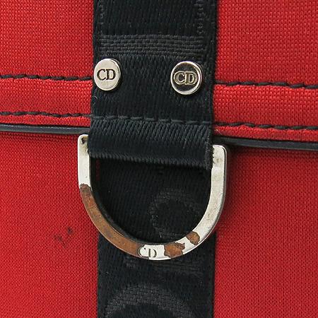 Dior(크리스챤디올) 레드 패브릭 이니셜 한줄 스티치 반지갑