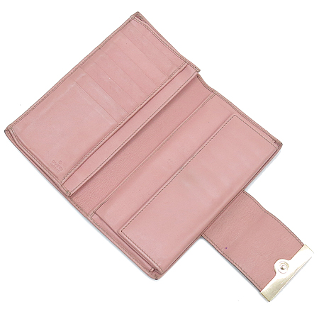 Gucci(구찌) 181668 GG로고 자갸드 핑크 PVC 코팅 장지갑