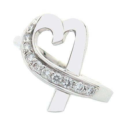 Tiffany(티파니) 18K(750) 화이트골드 파로마 피카소 러빙하트 10 포인트 다이아 반지-9호 [동대문점]