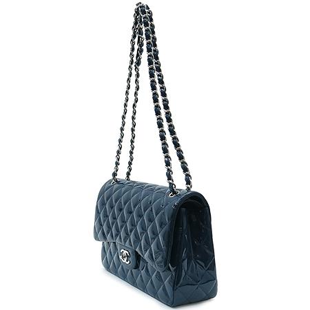 Chanel(샤넬) A28600 블루 페이던트 클래식 점보 사이즈 은장 체인 숄더백 [압구정매장]