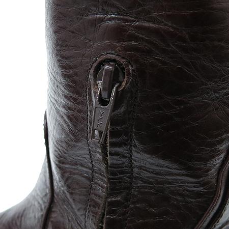 Obzee(오브제) 하프 짚업 장식 브라운 래더 여성용 부츠
