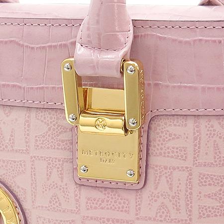 Metrocity(메트로시티) 금장 로고 핑크 레더 토트백