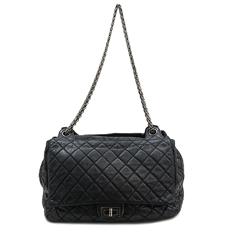 Chanel(샤넬) 빈티지 은장체인 퀼팅 블랙 래더 더블 플랩 숄더백