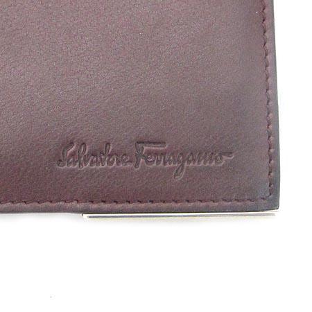 Ferragamo(페라가모) 66 9346 와인 레더 로고 장식 반지갑