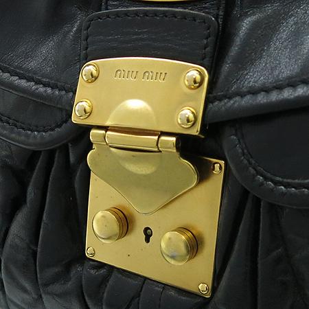 MiuMiu(미우미우) RR1358 블랙 레더 금장 장식 코퍼 2WAY