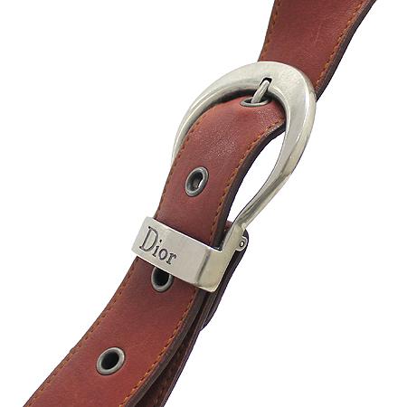 Dior(크리스챤디올)  은장 로고 장식 빈티지 래더 가우초 토트백
