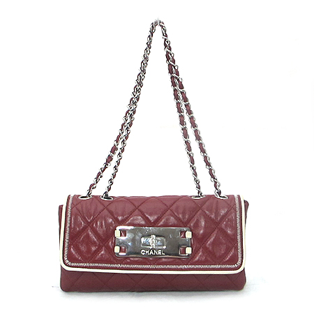 Chanel(샤넬) 레드 레더 램스킨 빈티지 크루즈 은장 체인 숄더백