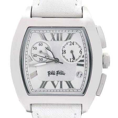 FOLLI FOLLI(폴리폴리) 사각 스퀘어 크로노 그래프 가죽 밴드 시계