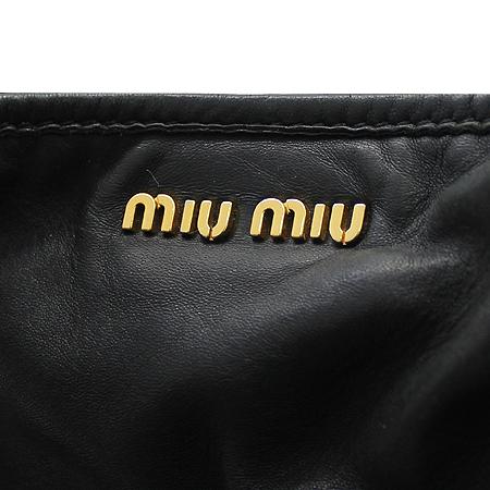 MiuMiu(미우미우) 블랙 레더 금장로고 2WAY