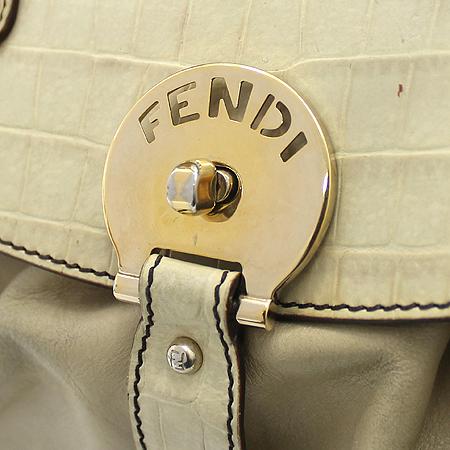 Fendi(펜디) 8BN144 크로커다일 패턴 플립 베이지 래더 숄더백