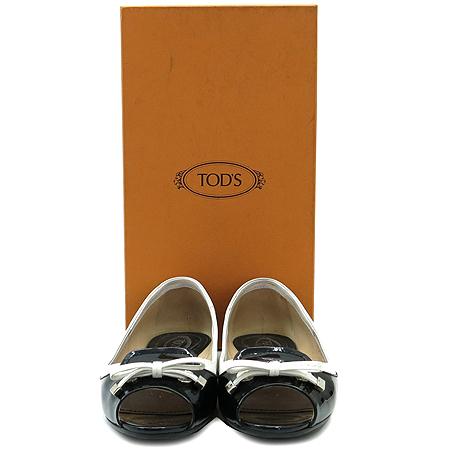 Tod's(토즈) 리본장식 페이던트 오픈토 드라이빙 플랫 슈즈