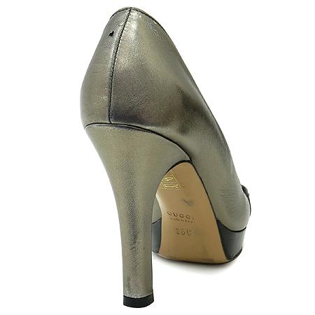 Gucci(구찌) 171353 금장 로고 장식 브론즈 오픈토 가보시 여성용 구두