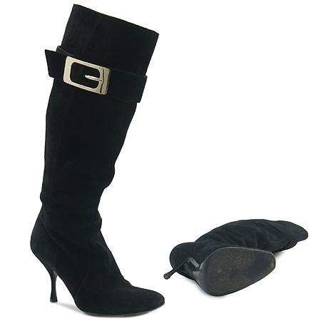 Gucci(구찌) 금장 벨트 로고 장식 블랙 스웨이드 부츠