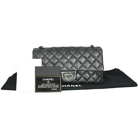 Chanel(샤넬) 2.55 빈티지 블랙 메탈릭 은장로고 체인 숄더백 [명동매장]