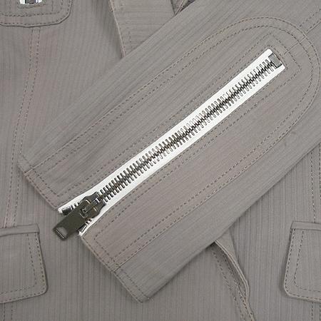 Burberry(버버리) 그레이 스트라이프 커튼 짚업 라이더 여성용자켓