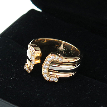 Cartier(까르띠에) B4026400 18K 삼색 골드 더블 C 로고 L사이즈 다이아 반지 -11호 [명동매장]