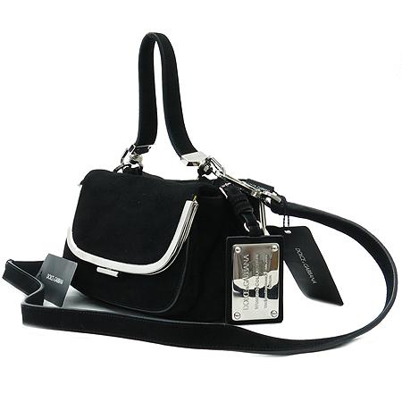 D&G(돌체&가바나) BB2501 블랙 스웨이드 CAPRA 래더 은장 플레이트 장식 토트백 + 숄더 스트랩