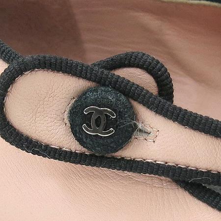 Chanel(샤넬) 블랙 리본장식 핑크레더 깜봉 플랫 슈즈