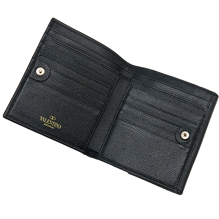 VALENTINO(발렌티노) 리본장식 블랙 클링클 래더 중지갑