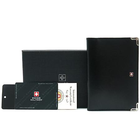 SWISS MILITARY (스위스 밀리터리) 로고 장식 블랙 래더 패스포트 겸 중지갑