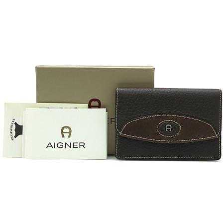 Aigner(아이그너) 로고 장식 브라운 래더 카드지갑