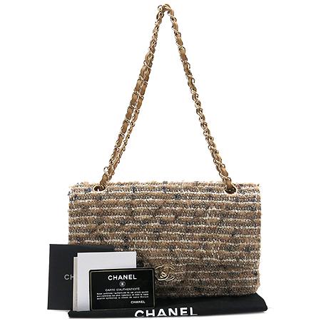 Chanel(샤넬) 트위드 클래식 M사이즈 금장 체인 숄더백