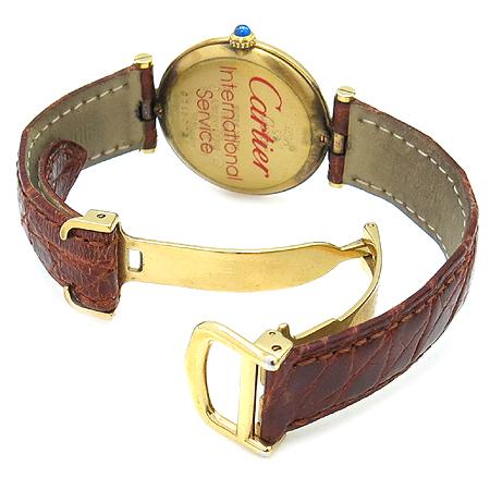 Cartier(까르띠에)  925(실버) 머스트탱크 라운드 금장 가죽밴드 DD클립 남여 공용시계 이미지3 - 고이비토 중고명품