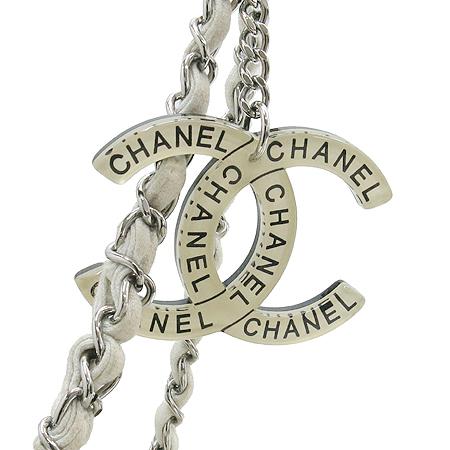 Chanel(샤넬) COCO로고 메탈릭 패브릭 은장체인 숄더백