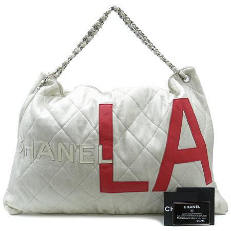 Chanel(샤넬) 은장 COCO로고 LA 집업 패브릭 이니셜 체인 숄더백 [동대문점]