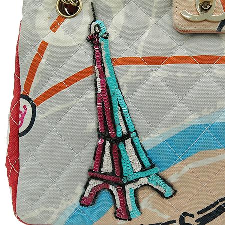 Chanel(샤넬) 에펠탑 스팽글 장식 패브릭 금장 체인 숄더백